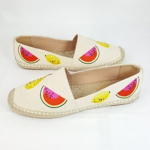 J Crew Canvas Embroidered Fruit Espadrille Flats